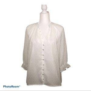 Hautelook White Button Chiffon Blouse Size Medium